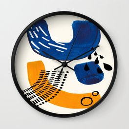 Fun Colorful Abstract Mid Century Minimalist Navy Blue Yellow Organic Shapes Water Drops Patterns Wall Clock