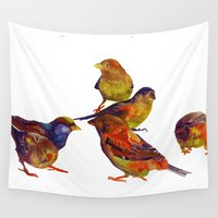 takmaj Wall Tapestries featuring Sparrows by takmaj