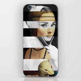 Leonardo da Vinci's Lady with a Ermine & Audrey Hepburn iPhone Skin