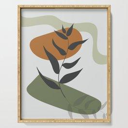 Abstract modern botanical poster, Minimal plant illustration, Trendy design for room decoration  Serving Tray