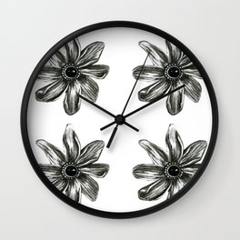 Punk Piercings spring flower, Fashion colored pencil drawing illustration art Black White Toned  Wall Clock