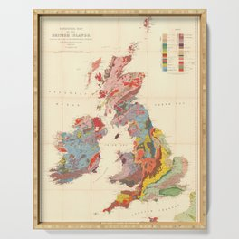 Vintage Geological Map of The British Isles (1912) Serving Tray