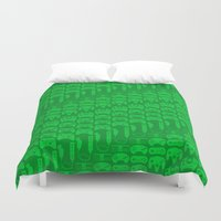 video game Duvet Covers featuring Video Game Controllers - Green by C.Rhodes Design