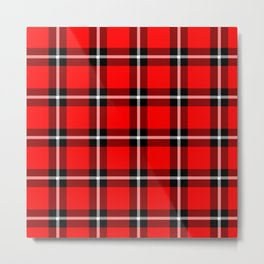 Solid RED #ff0000 color themed plaid SCOTTISH TARTAN Checkered Fabric Pattern texture background Metal Print