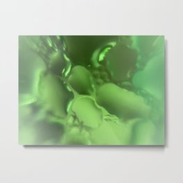 Microlens photography water droplets through green glass Metal Print