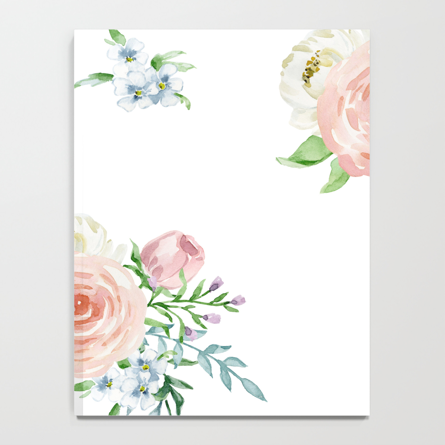 Watercolor Floral Background Pastel Colors Notebook By Jkdizajn