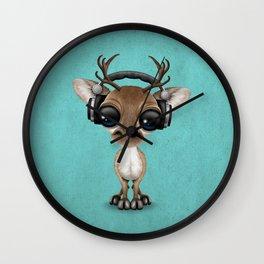 Cute Musical Reindeer Dj Wearing Headphones on Blue Wall Clock