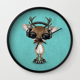 Cute Musical Reindeer Dj Wearing Headphones on Blue Wall Clock