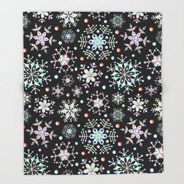 Prismatic Snowflakes Throw Blanket