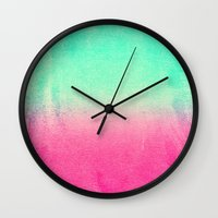 watermelon Wall Clocks featuring WATERMELON by Monika Strigel