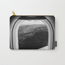 Window Seat // Scenic Mountain View from Airplane Wing // Snowcapped Landscape Photography Carry-All Pouch