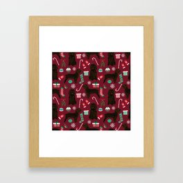 Boykin Spaniel christmas pattern dog breed presents stockings candy canes Framed Art Print
