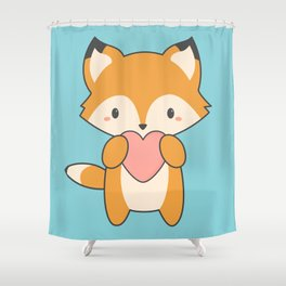 Kawaii Cute Fox With Hearts Shower Curtain