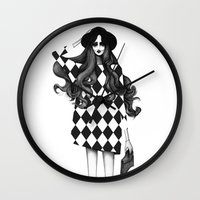 fashion illustration Wall Clocks featuring Fashion Illustration by Sibling & Co.