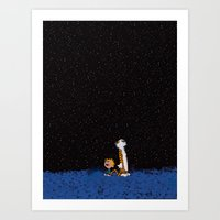 calvin and hobbes Art Prints featuring Calvin & Hobbes by rarcomeus
