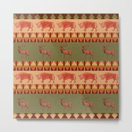 native pattern buffalo deer indigenous decoration Metal Print