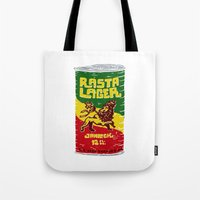 rasta Tote Bags featuring Rasta Lager by Moto