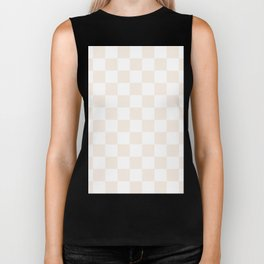 Checkered - White and Linen Biker Tank