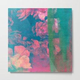 Rose Garden Blue 5- Texture Rose Study in red emerald green scarlet indigo watercolor wash Metal Print