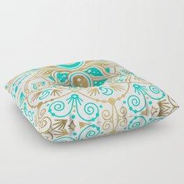 Sacred Lotus Mandala – Turquoise & Gold Palette Floor Pillow