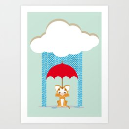 Tiger Don't like rain (2015 version) Art Print