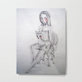 The girl and the fawn Metal Print