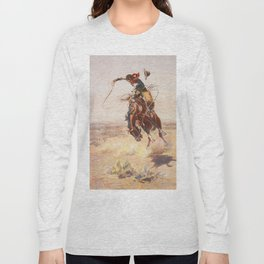 A Bad Hoss by Charles Marion Russell (c 1904) Long Sleeve T-shirt