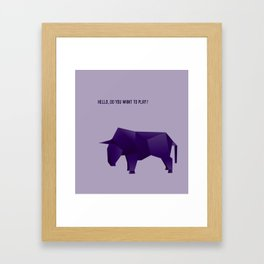 Do You Want to Play? - Origami Purple Bull Framed Art Print