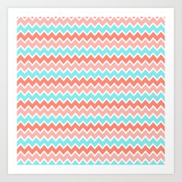 Coral Peach Pink and Aqua Turquoise Blue Chevron Art Print