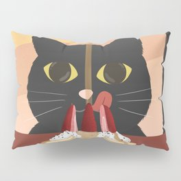 Carb Fiend aka Hungry Cat Eating Pancakes Pillow Sham