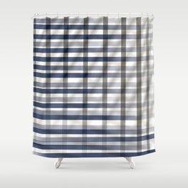 SALVATION worn blue and brown vintage plaid pattern Shower Curtain