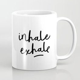 Inhale Exhale black and white contemporary minimalism typography print home wall decor bedroom Coffee Mug