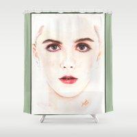 mad men Shower Curtains featuring kiernan shipka... mad goddess. by als3