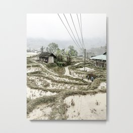 Beautiful foggy SaPa Vietnam rice fields cold winter Metal Print