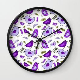 Purple birds-Waiting for Spring Wall Clock