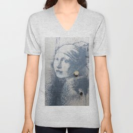 """Banksy """"Girl with a Burst Eardrum"""" Unisex V-Neck"""
