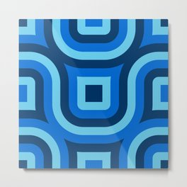 Blue Truchet Pattern Metal Print