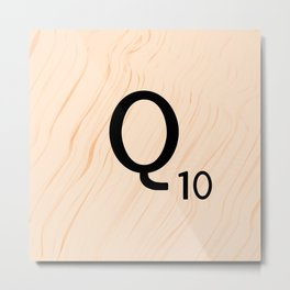 Scrabble Letter Q - Large Scrabble Tiles Metal Print