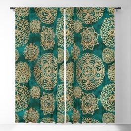 Teal Green and Gold Mandala Pattern Blackout Curtain