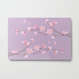 Cherry Blossom - Pale Purple Metal Print