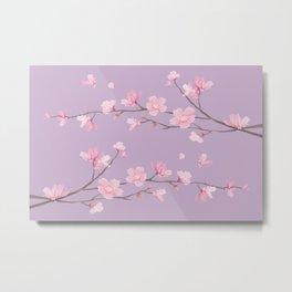 Cherry Blossom - Pale Purple Metal Print