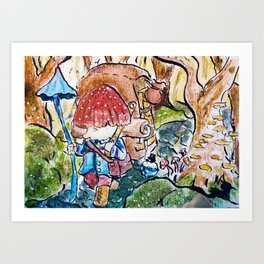 Mushroom peddler Art Print