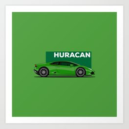 Huracan Green Supercar Art Print