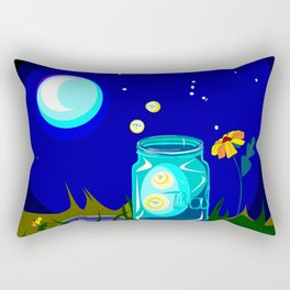 A Jar of Fireflies at Night Rectangular Pillow