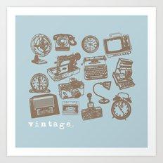 blue vintage  Art Print