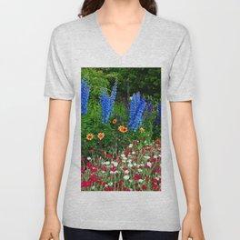 Blue Delphinium Summer Flowers Unisex V-Neck