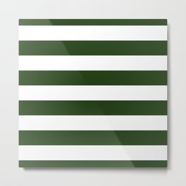 Large Dark Forest Green and White Cabana Tent Stripes Metal Print