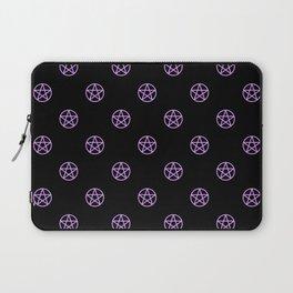 Purple Pentacle Pattern on Black Laptop Sleeve