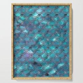 Teal Purple Mermaid Scales Glam #1 #shiny #decor #art #society6 Serving Tray