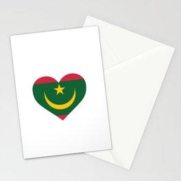 Mauritania  love flag heart designs  Stationery Cards